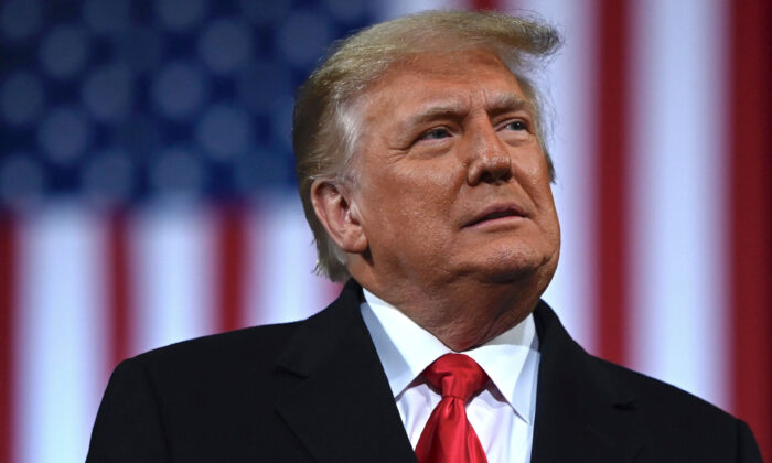 President Donald Trump addresses the crowd on Dec. 5, 2020, at a rally for Sen. Kelly Loeffler (R-Ga.) and Sen. David Perdue (R-Ga.), who are both facing runoff elections  in Valdosta, Ga. (Andrew Caballero-Reynolds/AFP via Getty Images)