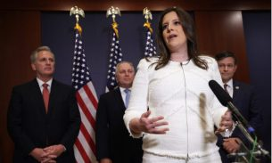 Rep. Elise Stefanik (R-N.Y.) speaks to members of the press after an election for House Republican Conference chair as House Minority Leader Rep. Kevin McCarthy (R-Calif.), House Minority Whip Rep. Steve Scalise (R-La.), and the newly elected House Republican Conference Vice-Chair Rep. Mike Johnson (R-La.) at the U.S. Capitol Visitor Center on May 14, 2021. (Alex Wong/Getty Images)