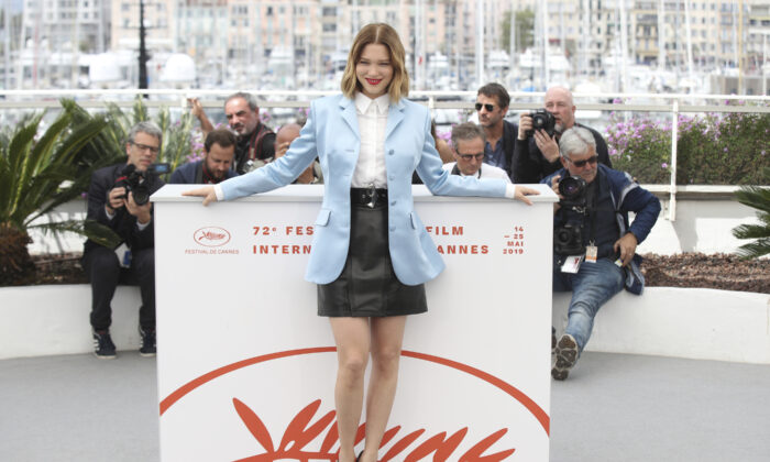 Actress Lea Seydoux poses for photographers at the photo call for the film 'Oh Mercy' at the 72nd Cannes film festival on May 23, 2019. (AP Photo/Petros Giannakouris, File)