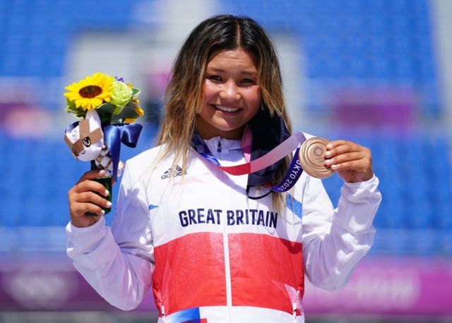 Great Britain's Skye Brown celebrates winning a bronze medal during the Women's Park Finals at Ariake Sports Park on Day 12 of the Tokyo 2020 Olympic Games in Japan