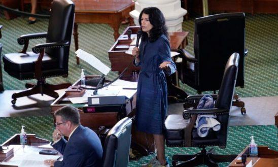 Texas state Sen. Carol Alvarado, a Democrat, filibusters Senate Bill 1 at the Texas Capitol in Austin, Texas, on Aug. 11, 2021. (Eric Gay/AP Photo)