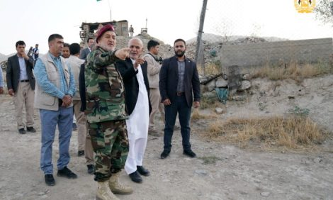 Afghanistan's President Ashraf Ghani and acting defence minister Bismillah Khan Mohammadi visit  military corps in Kabul, Afghanistan, on Aug. 14, 2021. (Afghan Presidential Palace/Handout via Reuters)