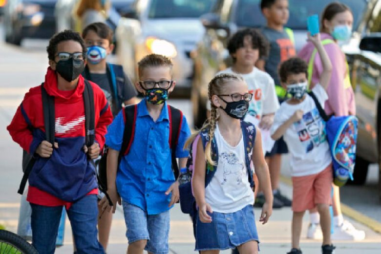 Students arrive for school