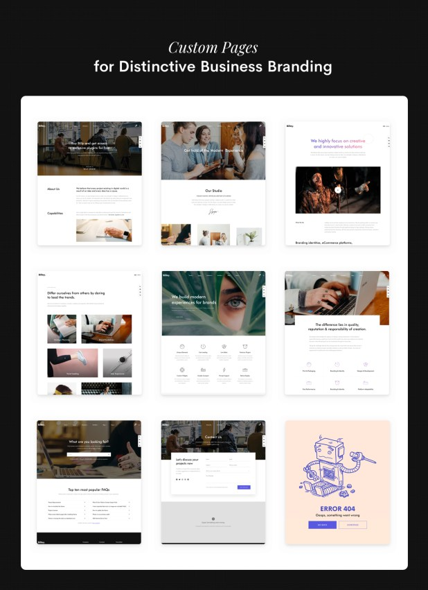 custom page for business
