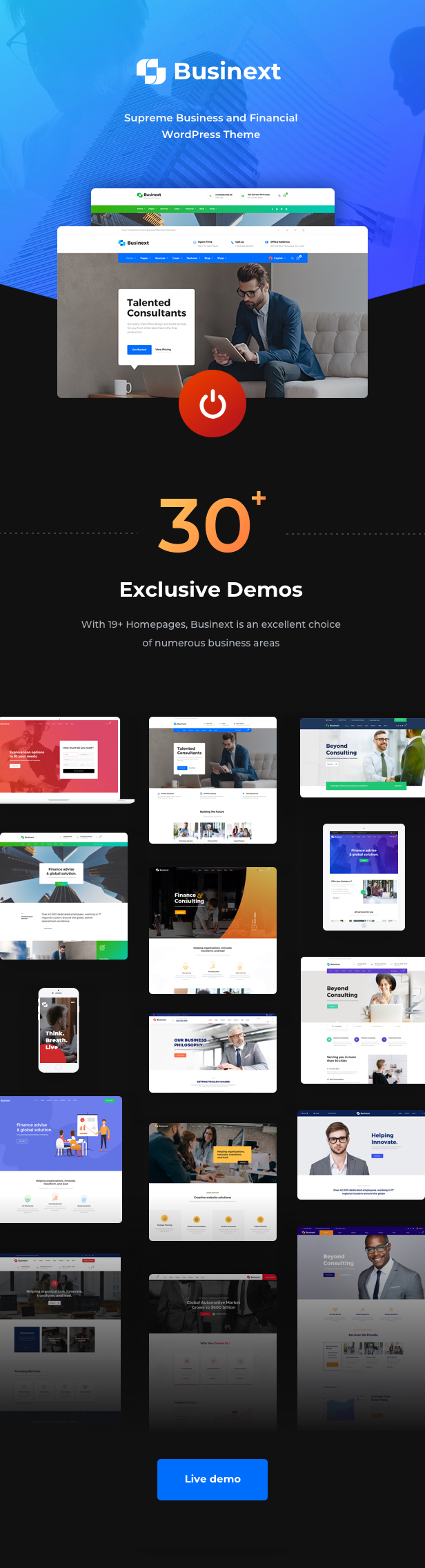 Business Financial Institution WordPress Theme - 32+ Superb Homepages