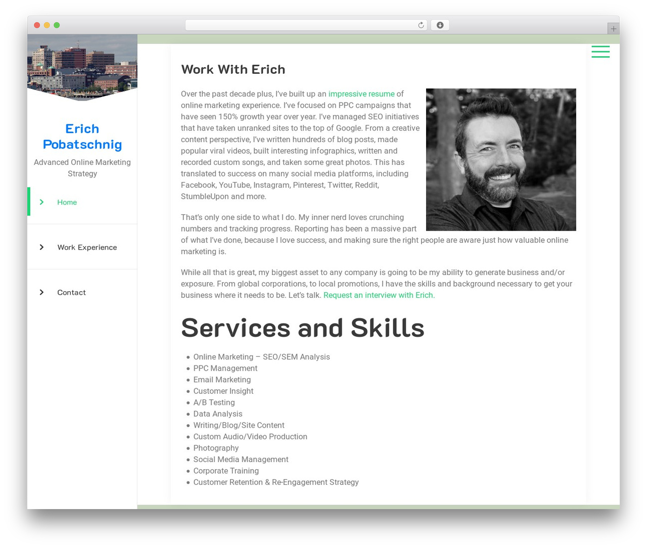 What do you do when an unexpected job opportunity arises and you don't have the luxury of spending a lot of time making it current? Online Cv Resume Business WordPress Theme By Edatastyle Erichpobatschnig Com