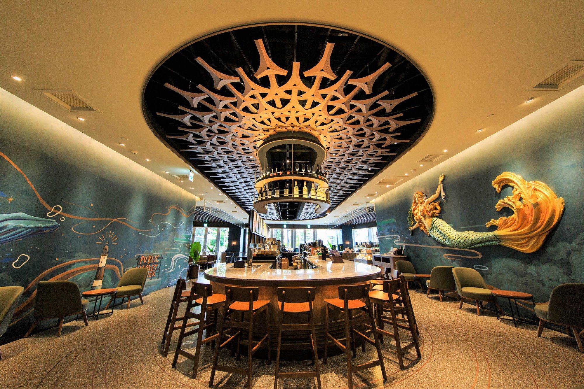 【台灣特色星巴克】高雄夢時代指標型旗艦店:首間以海洋意象設計,品味海洋般奇幻的咖啡旅程!