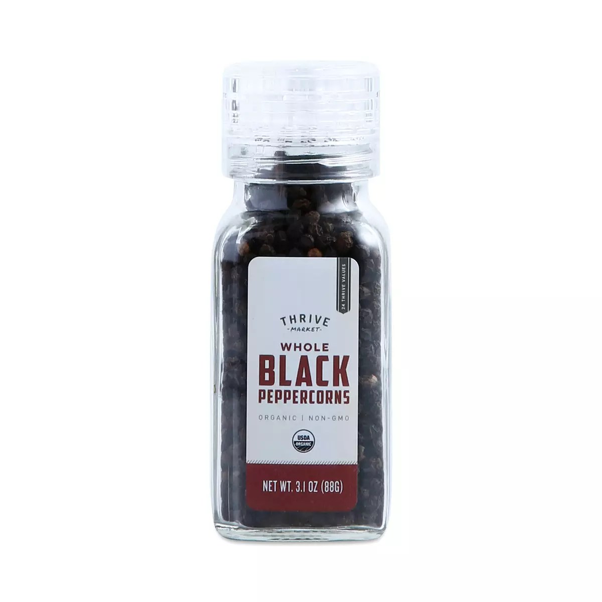 Organic Whole Black Peppercorns Grinder