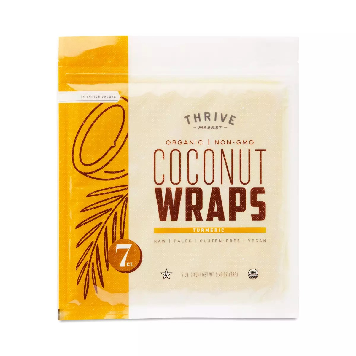 Organic Turmeric Coconut Wraps - Thrive Market