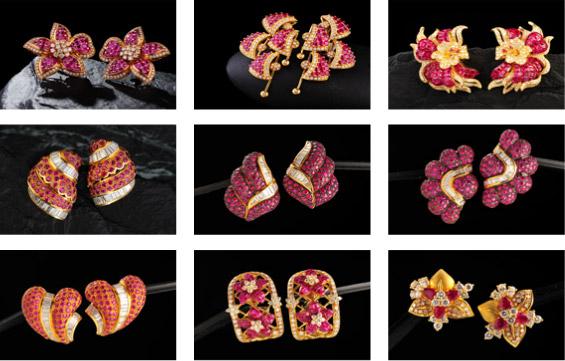 Серьги производства ювелирной фабрики Wang Talang