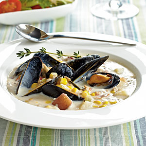 Corn, Clam, and Mussel Chowder from Cooking Light