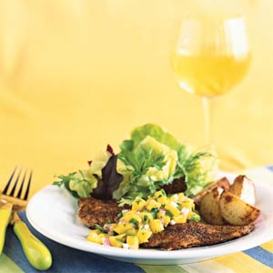 Blackened Yellowtail Snapper with Mango Salsa from Coastal Living