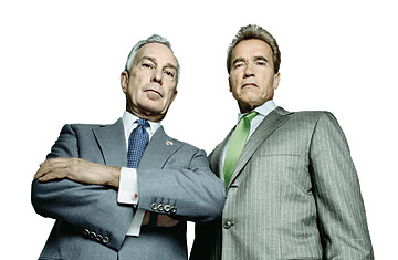 New York Mayor Michael Bloomberg and California Governor Arnold Schwarzenegger photographed together for Time (Platon for TIME)