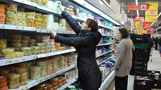 Consumers shop in a Moscow grocery store