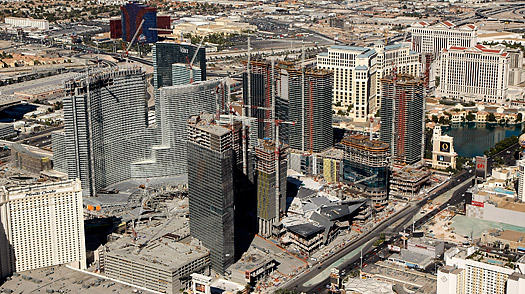 An aerial view of the construction site for CityCenter in Las Vegas