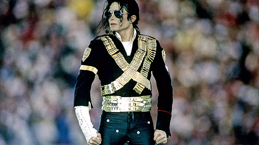 Singer Michael Jackson during his performance at the Super Bowl XXVII halftime show on January 31, 1993.