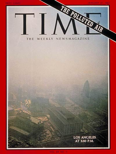 Time Magazine cover for January 27, 1967, photo by Larry Lee. The photo shows a typical Los Angeles day at 3:30 p.m., with photochemical smog restricting visibility dramatically. Particulate pollution, and sulfates, added to the visibility problems, and made air pollution a greater health hazard. An accompanying story was titled,