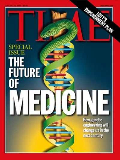 double helix w. caduceus re: article on future medicine. Illustration for TIME by Jerry Laro.
