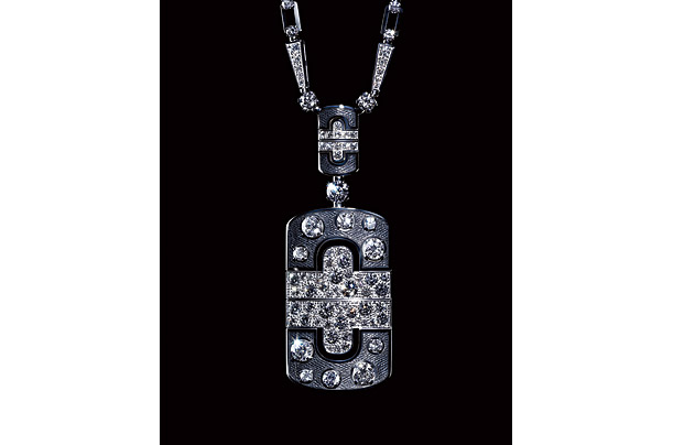 Bulgari Parentesi Jewelry white gold, enamel and diamond necklace