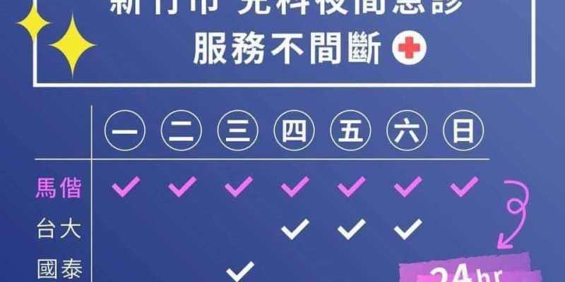 新竹市2018.9/1起兒科夜間急診不間斷(各醫院提供時間表查詢)--踢小米生活