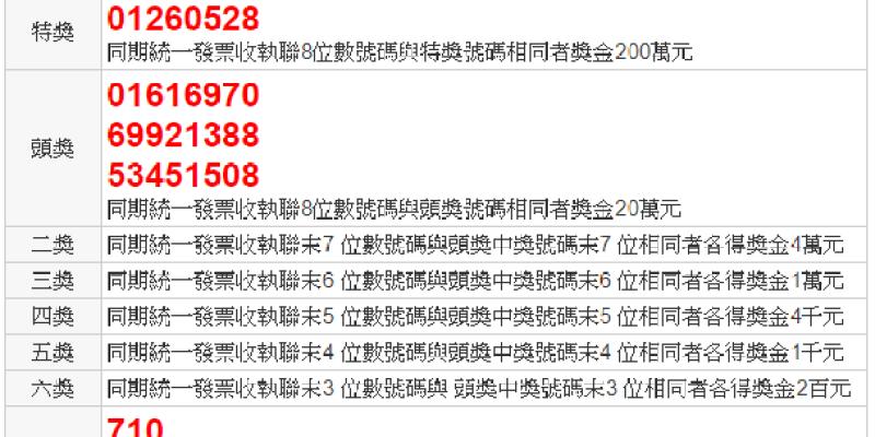2019(108年)11-12月統一發票中獎號碼.祝大家中大獎啦!--踢小米生活