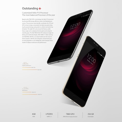 """Umi Plus Smartphone 4G FDD-LTE 3G WCDMA Android 6.0 Marshmallow OS MTK6755 Octa Core 5.5"""" Screen 4GB RAM 32GB ROM 5MP 13MP Dual Cameras Fast Charge Touch ID 2.1"""