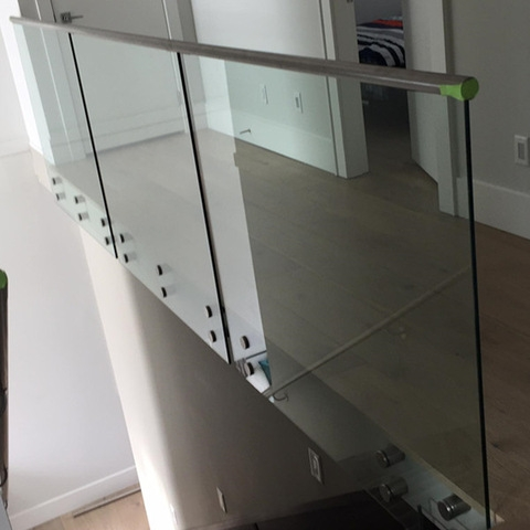 Interior Stainless Steel Glass Stair Railing Guard Rail Price | Stainless Steel Glass Staircase | Transparent | Handle | Powder Coated Steel | Open Tread | Black Stained