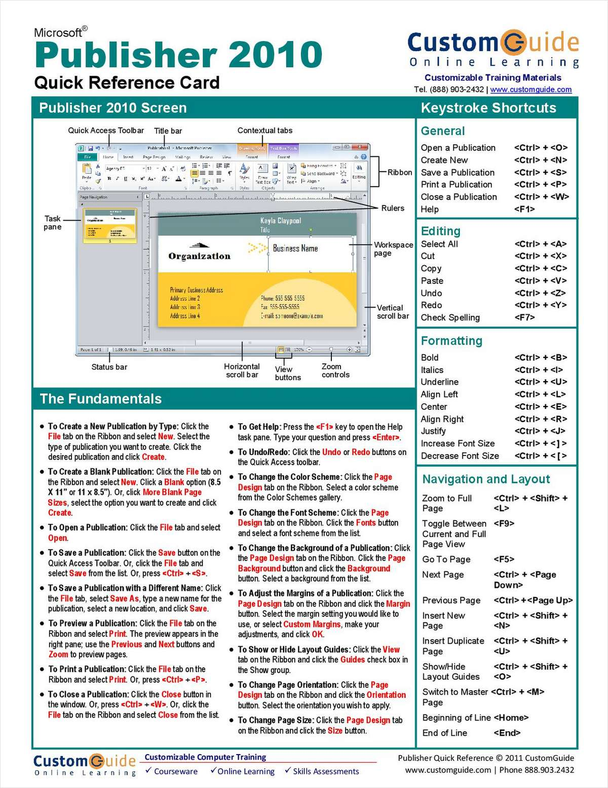 Microsoft Publisher Free Quick Reference Card Free