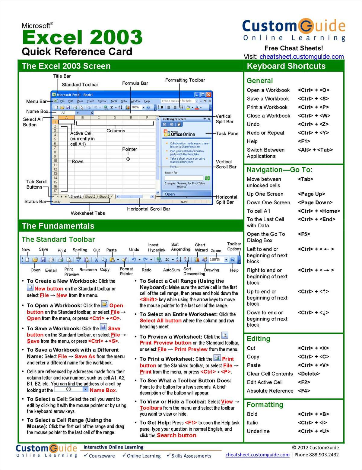 Microsoft Excel Free Quick Reference Card Free Tips And Tricks Guide