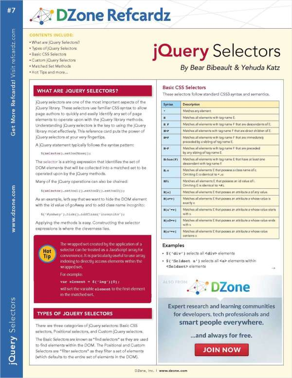 Getting Started With jQuery Selectors Free Cheat Sheet