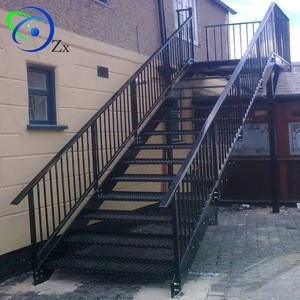 Outdoor Metal Fire Escape Staircase Exterior Prefab Mild Steel | Wrought Iron Stairs Outdoor | Early 19Th Century | Iron Handrail | Mild Steel | Porch | Steel