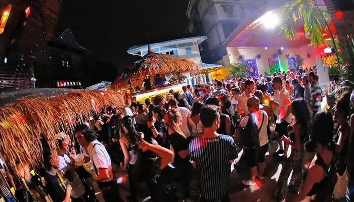 A street party on Khao San Road, Bangkok during new year celebration in Thailand