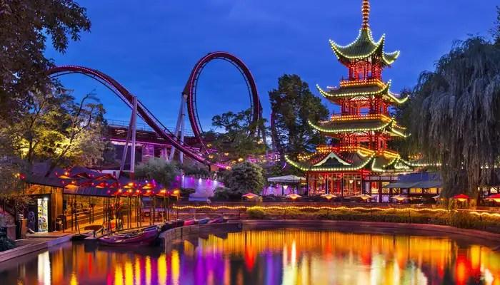 Tivoli Gardens well lit