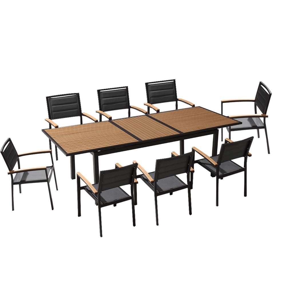 ensemble de jardin table extensible 240cm et 8 chaises polywood et textilene noir
