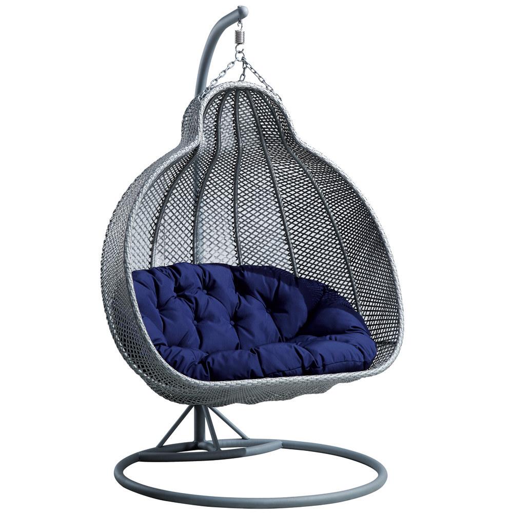 fauteuil suspendu de jardin en resine tressee pour 2 personnes mercure