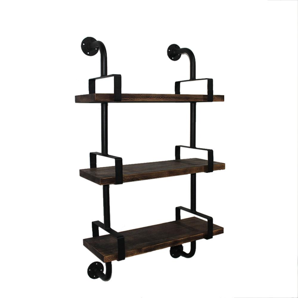 etagere style industriel acier pin 100x61x25cm