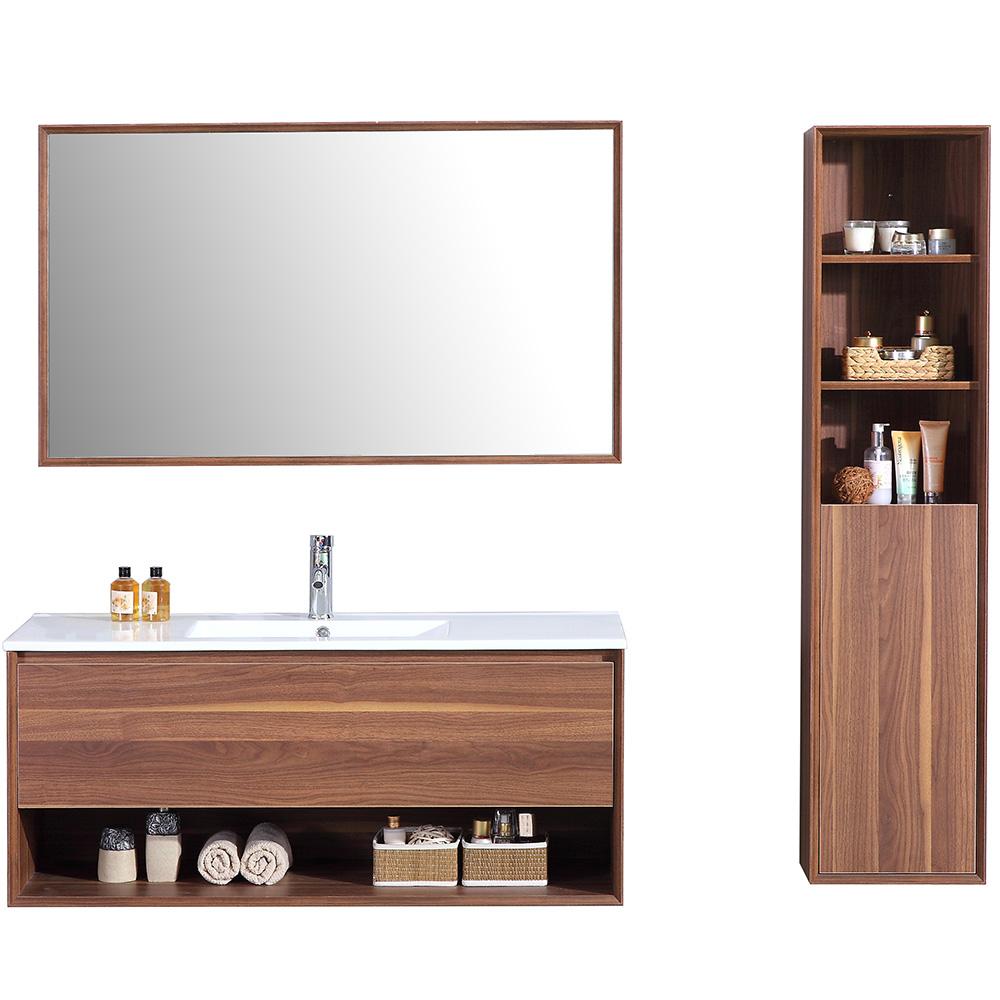 Nur 100 00 Braun Aloa Meuble Salle De Bain Simple Vasque 120cm Colonne De Rangement Miroir Interouge