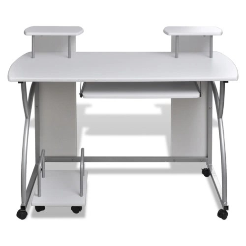 Computer Desk with Pull-out Drawer White Finish