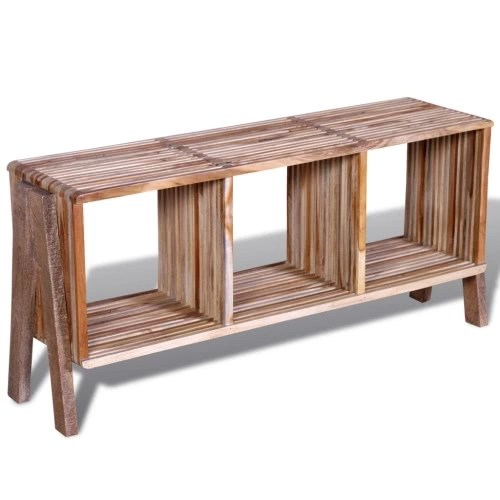 TV Cabinet with Three Shelves Stackable Teak Wood Antique