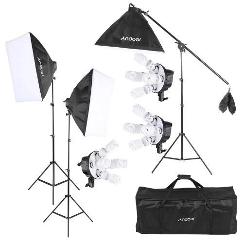 andoer studio photo video softbox lighting kit photo equipment 15 45w bulb 3 5in1 bulb socket 3 softbox 3 light stand 1 cantilever