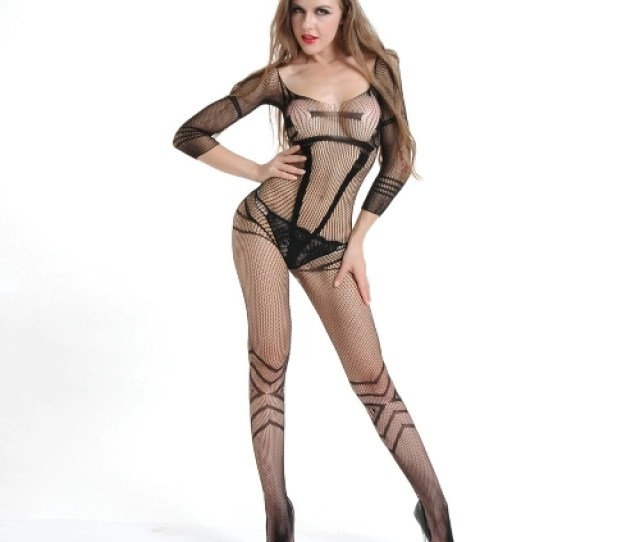 Women Erotic Lingerie Body Stocking Net Sheer See Through Mesh Backless Hollow Out Sexy Fishnet Black