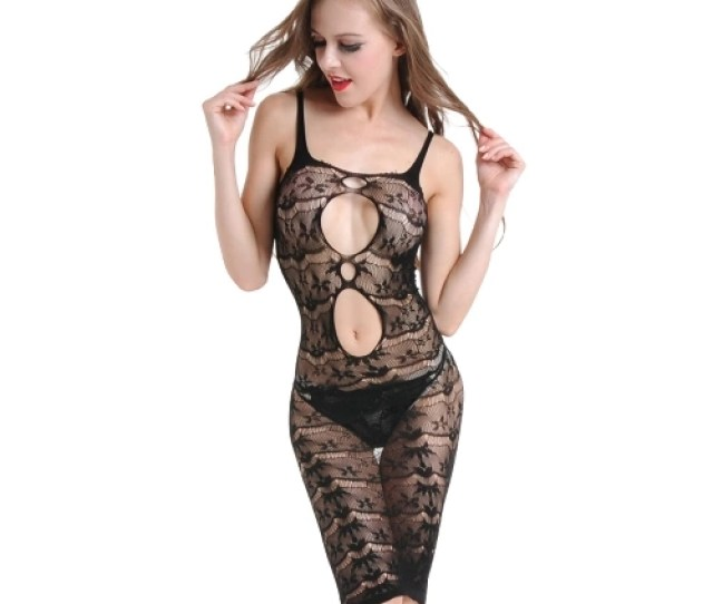 Women Erotic Lingerie Babydoll Sheer Mesh Floral Lace Spaghetti Strap Backless Sexy Sleepwear Black