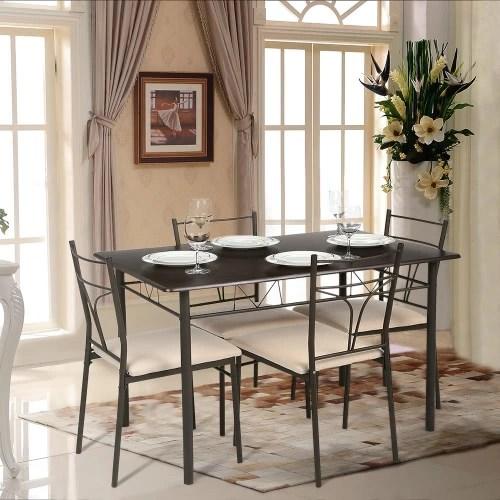 iKayaa Modern 5PCS Metal Frame Padded Dining Table Chairs Set