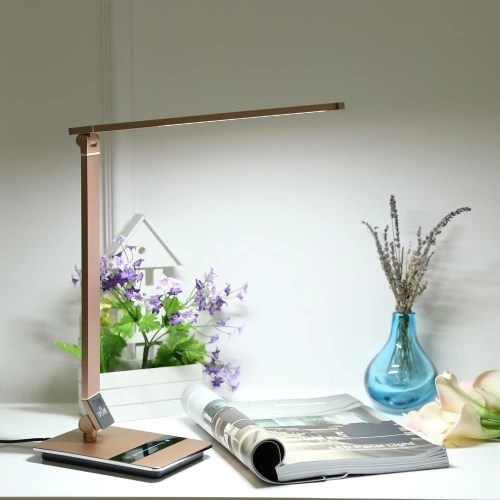 Tomshine Foldable Dimmable Touch Sensitive Control LED Desk Lamp 8.5W 500LM 3 Color Temperature 3000K 4500K 6000K Stepless Adjustable Brightness EyeCare Ultrathin Aluminum Alloy Table Light with Power Adapter