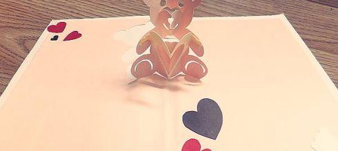 [禮物] 手工立體卡片情人節小熊愛心