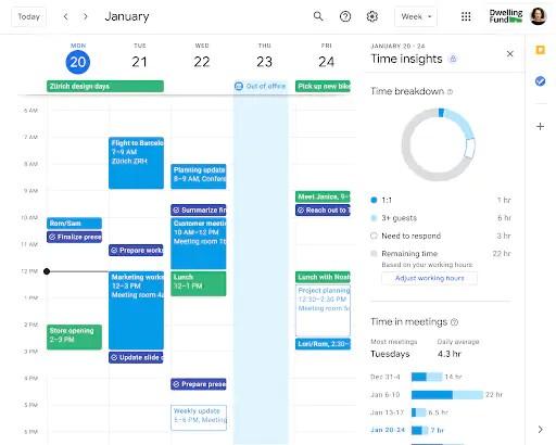 google calendar gboard time insight ui material you novità