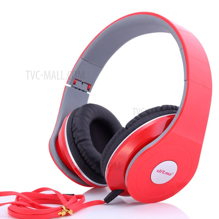 DITMO Foldable Stereo Wired Headphone with 3.5mm 1.2m Cable (DM-2600) - Red-1