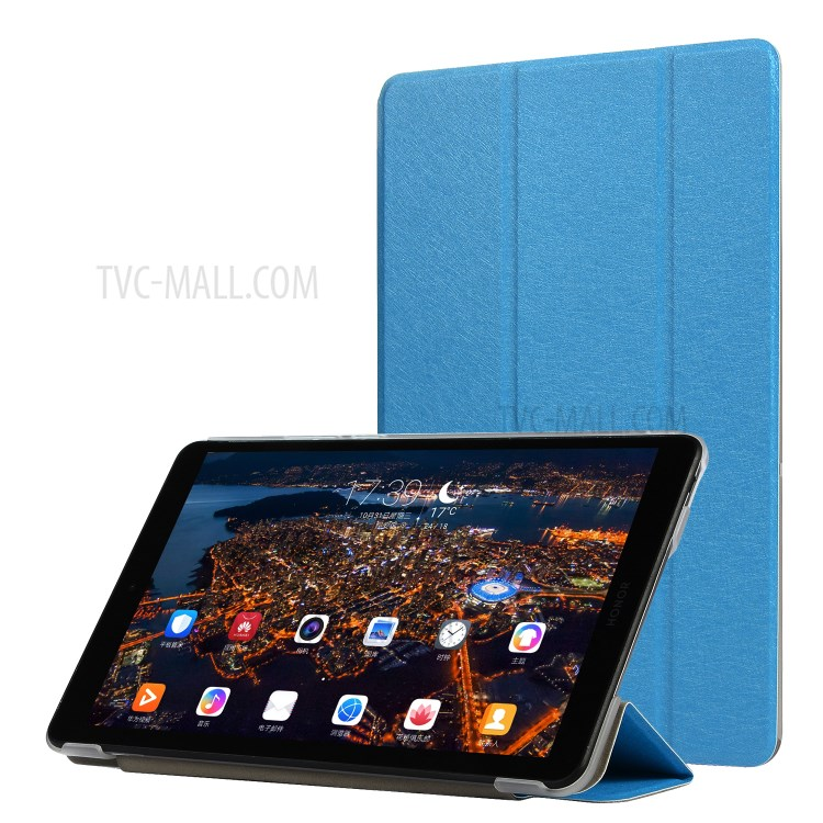 Silk Texture PU Leather Tri-fold Stand Tablet Cover Case for