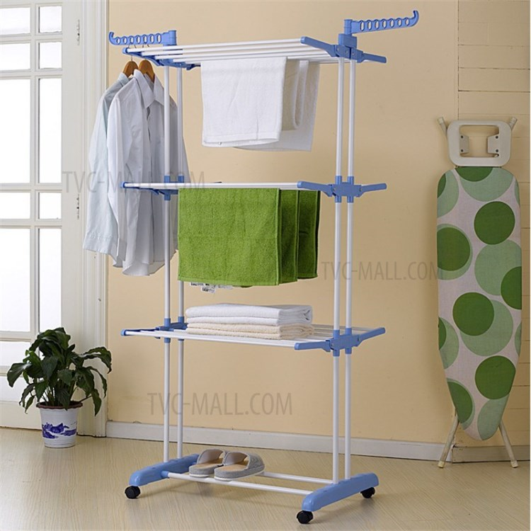 3 layer folding airer portable practical clothes dryer drier large airer blue household drying rack blue