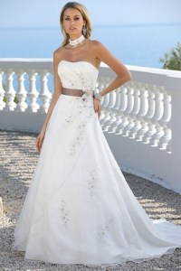 Beach Wedding Dresses   Destination Wedding Dresses   UCenter Dress A Line Beaded Strapless Satin Tulle Wedding Dress With Flower And Ribbon